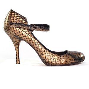 Max Studio Bronze/Gold Snakeskin Toshi Mary Janes
